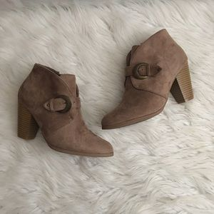 Maurice's Taupe Heeled Trina Faux Suede Bootie